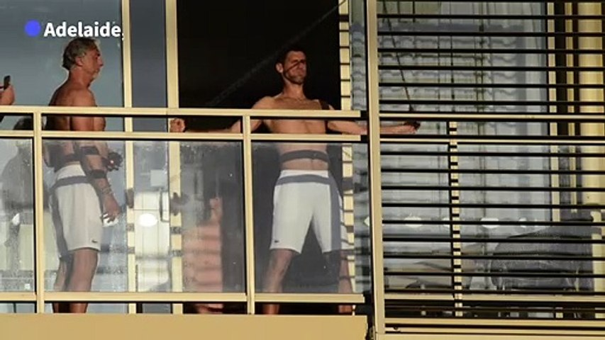 Djokovic trains on his balcony during Australian Open quarantine
