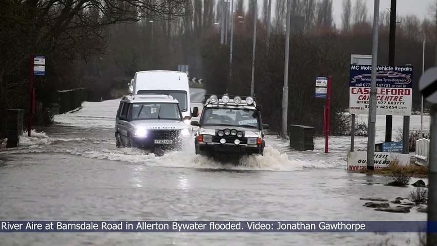 Barnsdale Road, inAllerton Bywater, has closed due to the flooding.