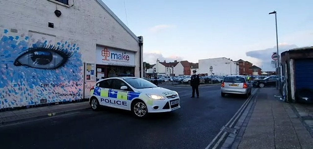 Police in Cornwall Road, Fratton in Portsmouth
