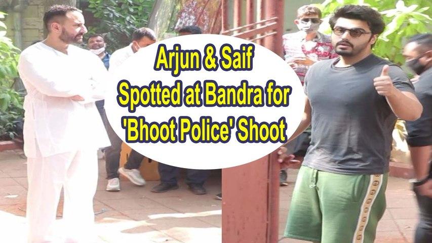 Arjun Kapoor & Saif Ali Khan Spotted at Bandra for 'Bhoot Police' Shoot