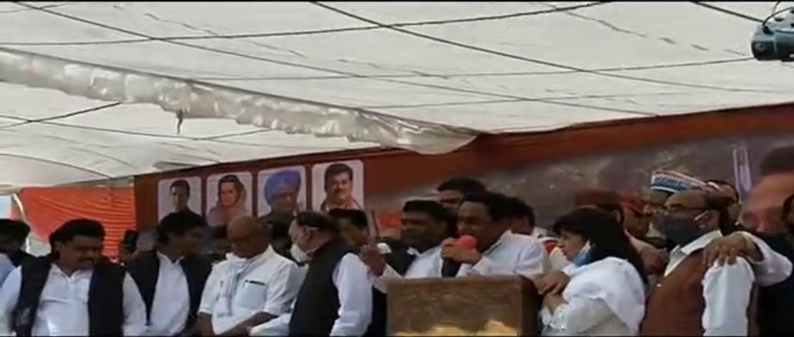 भोपाल में गरजे पूर्व मुख्यमंत्री कमलनाथ। किसान आंदोलन को किया संबोधित।