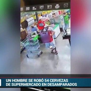 Buscan a hombre que se robó 54 cervezas de supermercado