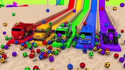 Education Video  Learn Colors with Street Vehicle Soccer Ball Pool Pretend Play for Kids
