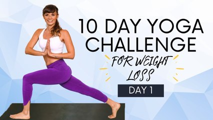 Yoga for Weight Loss, 10 Day Challenge (Day 1)  Fat Burning Workout, 30 Minutes, Intermediate