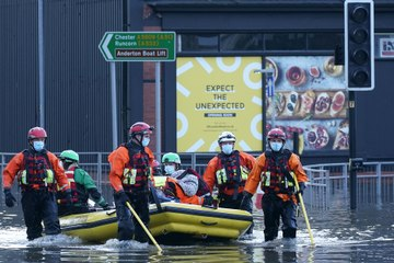 England and Wales deal with flooding after impact of Storm Christoph