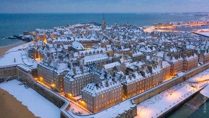 Neige à Saint-Malo en Bretagne - France - Drone 02/2021
