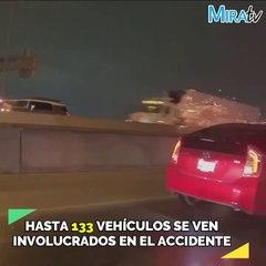 En Texas se hielan las carreteras y ocurren estos accidentes.