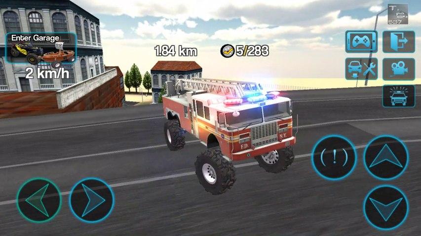 Camión de Bomberos y Ambulancia Monstruo - Juegos de Carros