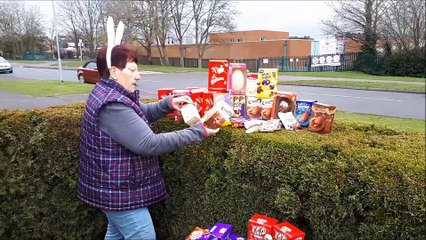 Jeanette Walsh collecting Easter eggs for children in need