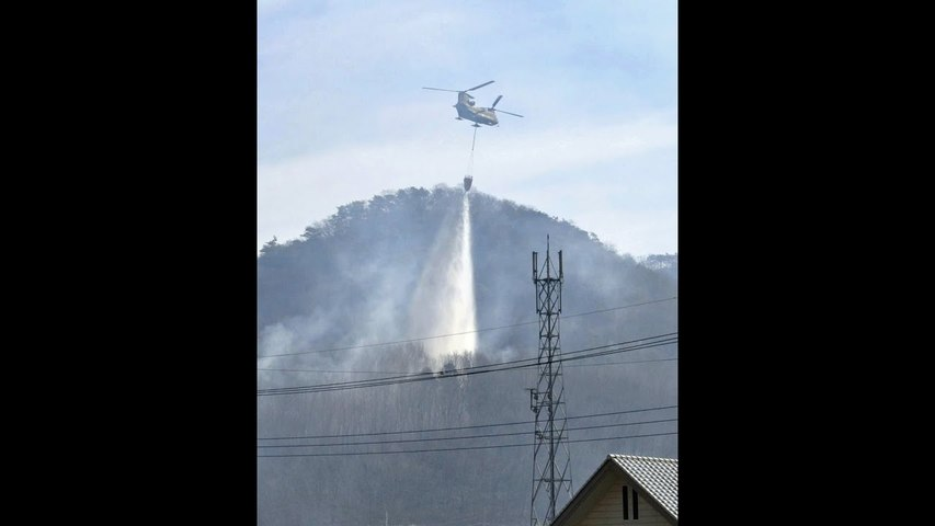 Helicopters, firefighters battle forest fires in Gunma, Tochigi