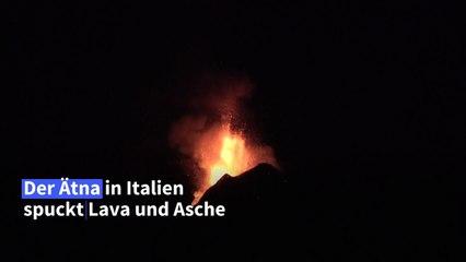Vulkan Ätna spuckt Lava und Asche