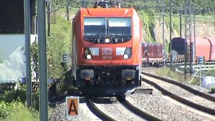 Züge und Schiffe am und auf dem Rhein bei Lorch, BR101, BR427, BR428, BR187