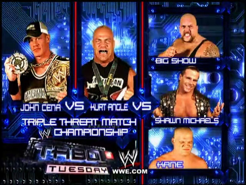 John Cena vs Kurt Angle vs Shawn Michaels Taboo Tuesday 2005 Entrances - video Dailymotion