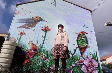 VIDÉO. Niort :  elle s'offre une fresque de l'artiste Atom Ludik sur sa maison