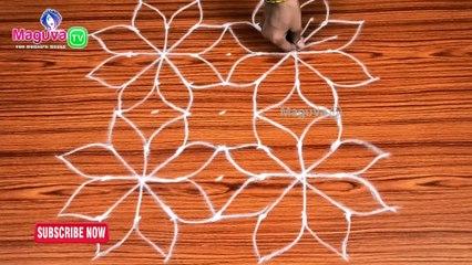 Simple Rangoli Designs with Dots - 7 x 7 Dots | Rangoli with Dots | Chukkala Muggulu || Maguva TV | #46