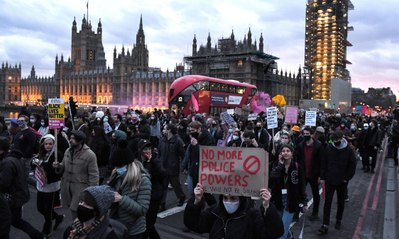 'Kill the bill': arrests made at London protest over policing powers and Sarah Everard vigil
