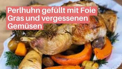 Perlhuhn gefüllt mit Foie Gras und vergessenen Gemüsen