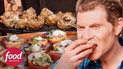 Ricas alcachofas asadas y postre de durazno | La parrilla de Bobby Flay | Food Network Latinoamérica