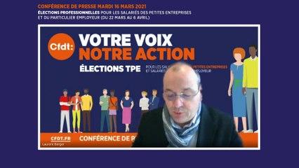 Conférence de presse : Elections professionnelles pour les salariés des petites entreprises et du particulier employeur (du 22 mars au 6 avril)
