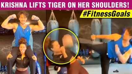 UNBELIEVABLE! Tiger Shroff's Sister Krishna LIFTS HIm On His Shoulder| Workout Video