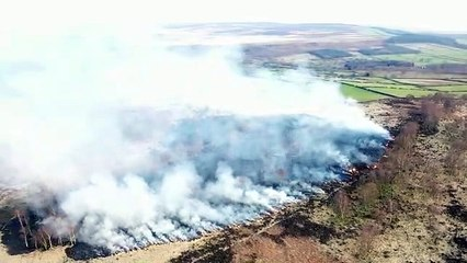 Moorland fire near Baslow