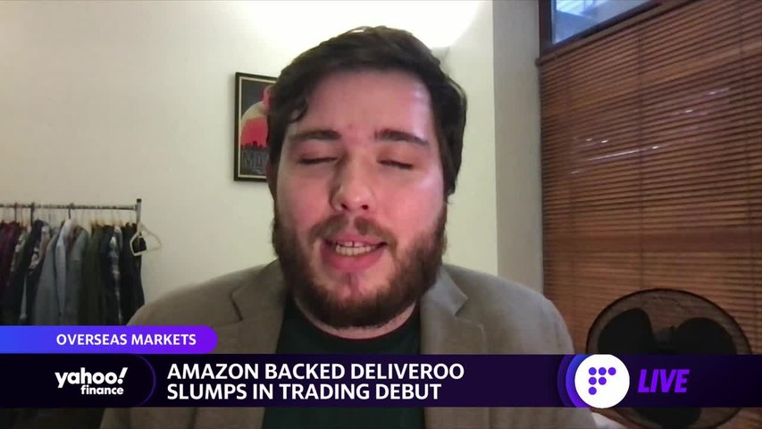 Amazon backed Deliveroo slumps in trading debut