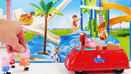 Peppa Pig Toy Learning Video for Kids - Peppa Pig Gets a New Pool and Goes Swimming