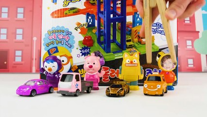 Teach Kids Spanish and English words with Painting Pororo Toy Car Fun