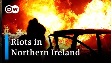 Northern Ireland- Protesters burn bus amid violence -