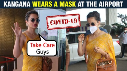 Kangana Ranaut Tells Photographers To Stay Safe | Spotted At Mumbai Airport Wearing Mask