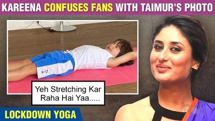 Kareena Kapoor's Son Taimur Stretching On A Yoga Mat | Lockdown Yoga