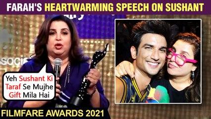 Farah Khan Emotional Speech On Dedicating Filmfare 2021 Award To Sushant Singh Rajput