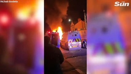 Car on fire in Belfast during another night of violence in Northern Ireland