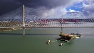 Iron Lady barge with its cargo of a topside drilling platform headingup the Forth into The Port of Rosyth
