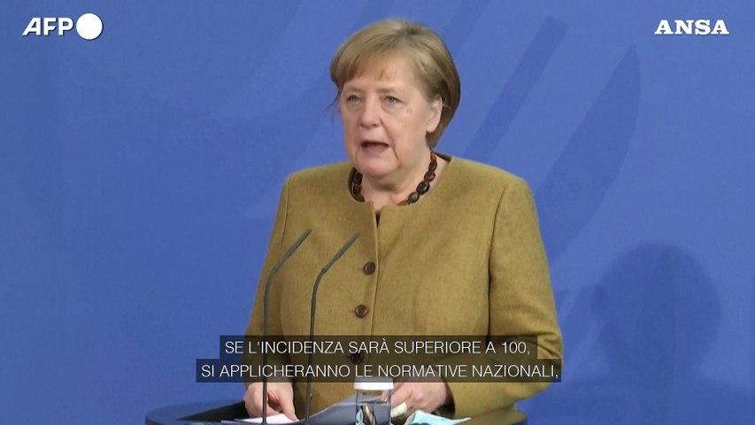 """La cancelliera tedesca: """"Se l'incidenza sara' superiore a 100, si applicheranno le normative nazionali"""""""