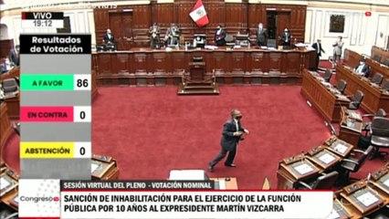 Congreso de Perú inhabilita a Vizcarra para ejercer cargos públicos