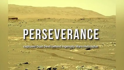 Dust Devil behind Ingenuity Mars Helicopter photographed by Perseverance Rover
