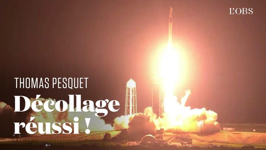 Le décollage de Thomas Pesquet et la fusée SpaceX vers la Station spatiale internationale en replay