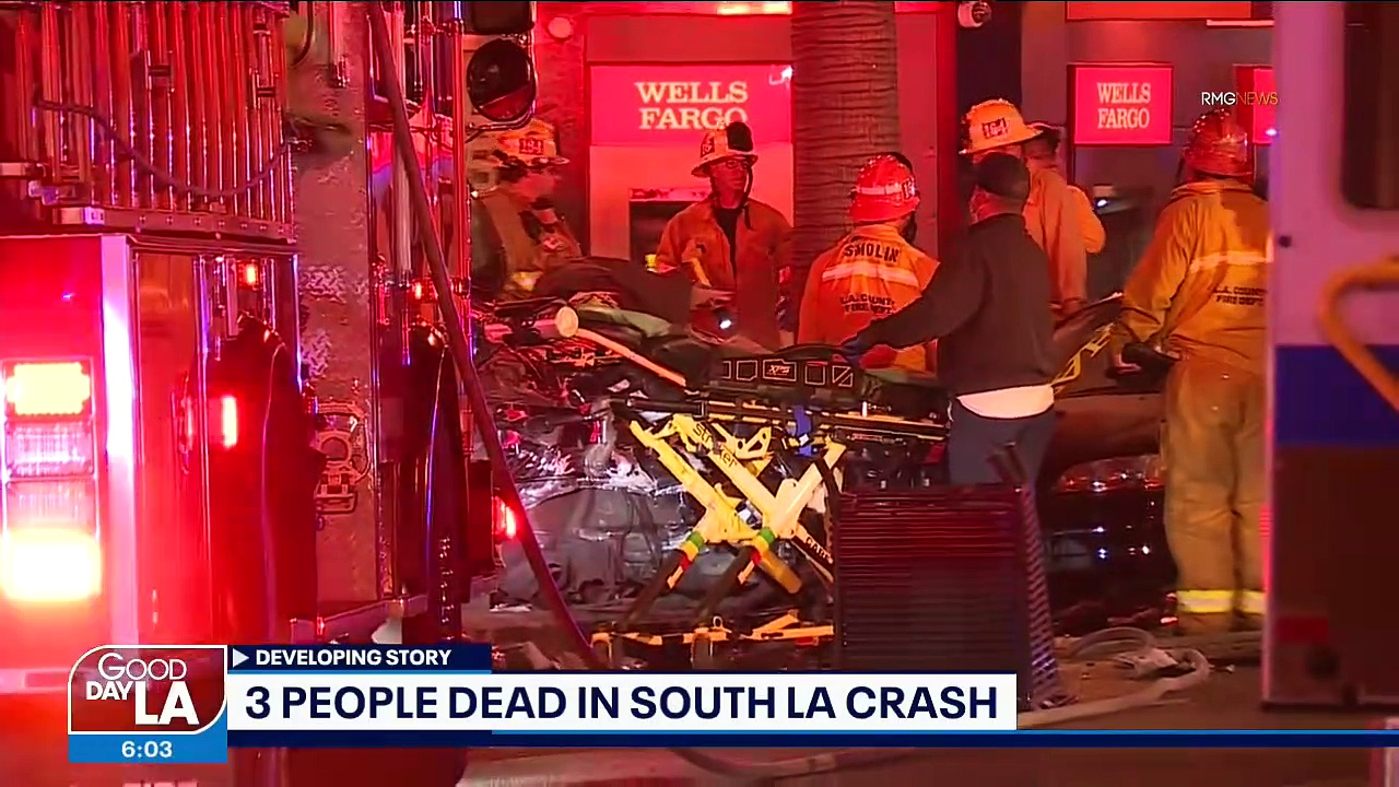 Three Killed In South La Crash After Vehicle Plows Into Parked Cars, Wells Fargo Bank