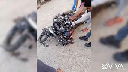 कंटेनर ने मारी बाइक सवार को टक्कर, दो की मौत एक घायल