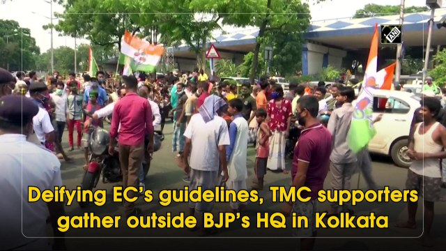 Defying EC's guidelines, TMC supporters gather outside BJP's HQ in Kolkata