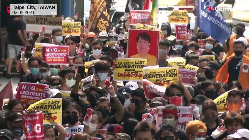 شاهد: ميانماريون مقيمون في تايوان يتظاهرون ضد الانقلاب العكسري في بلادهم