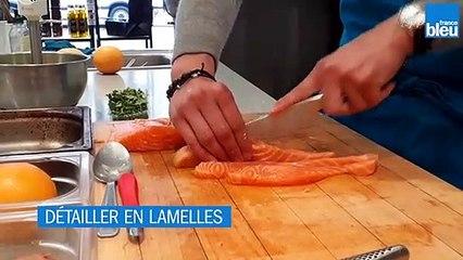Recette : Tartare de saumon, mousseline d'avocat, huile de citron et brunoise de tomates