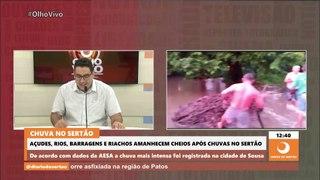 Açudes, rios e barragens amanhecem cheios após chuvas nas regiões de Cajazeiras, Sousa e Catolé do Rocha