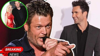 """Blake Shelton reacts to Adam Levine's hilarious strike, quipping: """"Gwen is great ... and he isn't"""""""