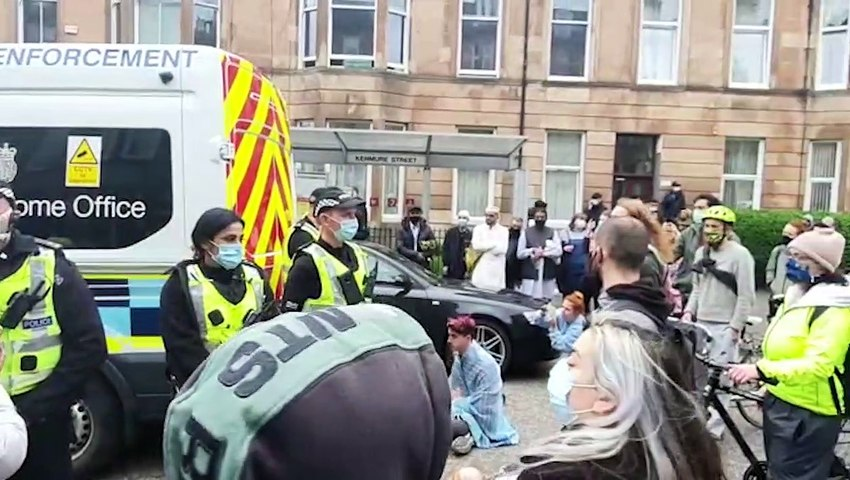 Community gathering to block an Immigration Enforcement van in Pollokshields, Glasgow, this morning