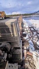 Truck Barely Fits on Narrow Bridge