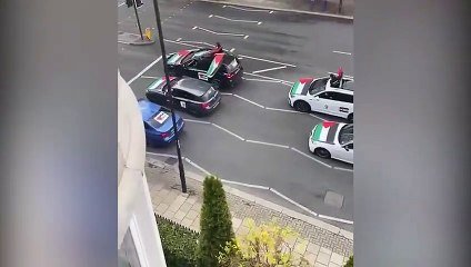 Palestinian protesters shout anti-semetic comments from car on Finchley Street, London