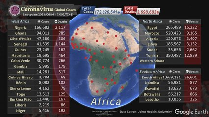 COVID-19 Coronavirus global cases / Update Time 2021/06/04 17:00 (UTC+8)
