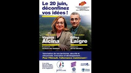 Virginie Alcina et Gilles Laigre, candidats soutenus par le Rassemblement National, canton de Saint-Pons-de-Thomières dans l'Hérault